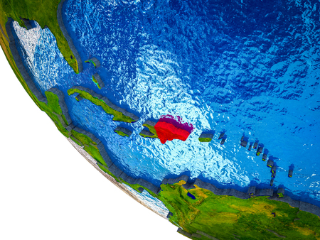 Dominican Republic on model of Earth with country borders and blue oceans with waves. 3D illustration.