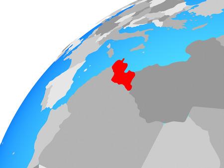 Tunisia on globe. 3D illustration.