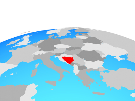 Bosnia and Herzegovina on political globe. 3D illustration.