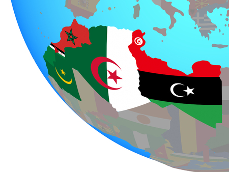 Maghreb region with national flags on simple globe. 3D illustration.