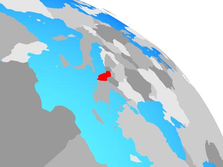 Albania on simple blue political globe. 3D illustration. Stock Photo