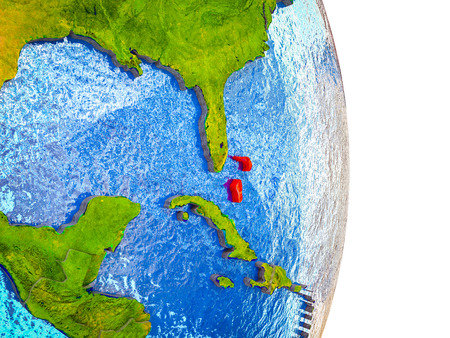 Bahamas on 3D model of Earth with divided countries and blue oceans. 3D illustration. Stock Photo
