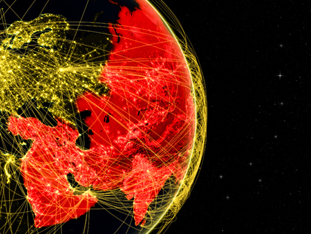 Asia on dark Earth in space with networks. Concept of internet, telecommunications or air traffic between continents. 3D illustration. Stock Photo