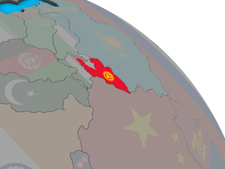Kyrgyzstan with embedded national flag on simple blue political 3D globe. 3D illustration.