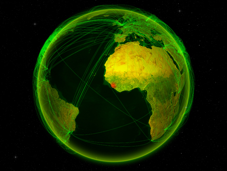 Sierra Leone From Space On Planet Earth With Digital Network Stock