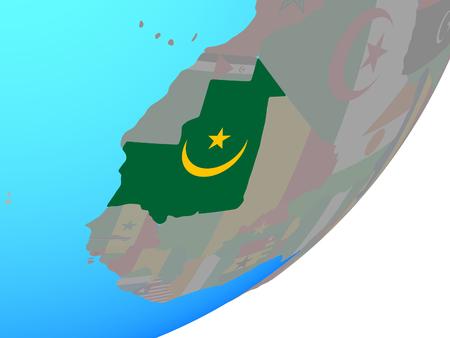 Mauritania with embedded national flag on blue political globe. 3D illustration.