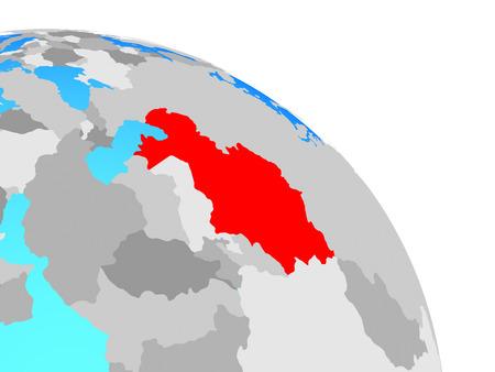 Kazakhstan on simple blue political globe. 3D illustration. Stock Photo