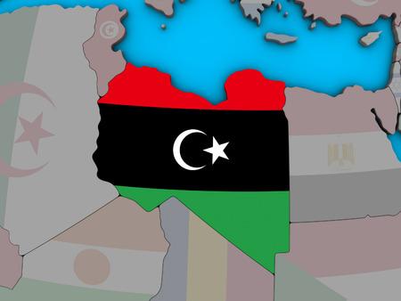 Libya with embedded national flag on blue political 3D globe. 3D illustration.