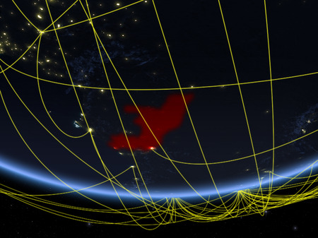 Congo on model of planet Earth at night with network representing travel and communication. 3D illustration. Standard-Bild