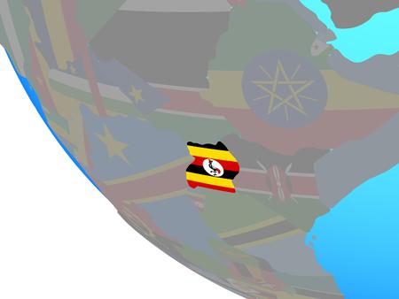 Uganda with national flag on simple globe. 3D illustration.