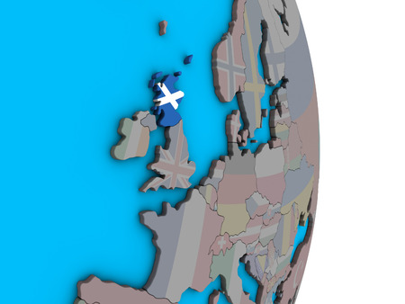 Scotland with embedded national flag on simple political 3D globe. 3D illustration. Stock Photo