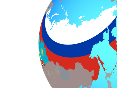 Former Soviet Union with embedded national flags on blue political globe. 3D illustration. Stock fotó
