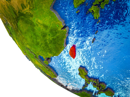 Taiwan on model of Earth with country borders and blue oceans with waves. 3D illustration.