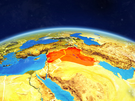 Islamic State on planet Earth with country borders and highly detailed planet surface and clouds. 3D illustration.