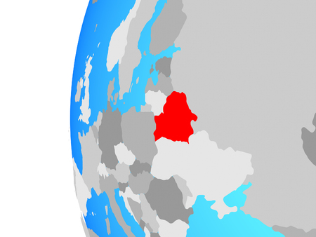 Belarus on blue political globe. 3D illustration. 写真素材