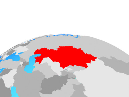 Kazakhstan on political globe. 3D illustration.