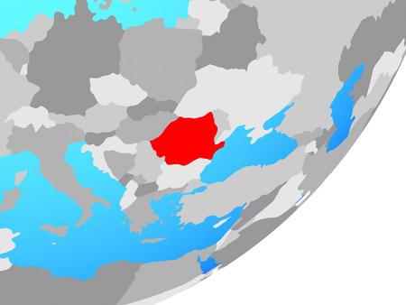 Romania on blue political globe. 3D illustration.