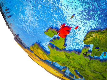 Scotland on model of Earth with country borders and blue oceans with waves. 3D illustration. Stock Photo