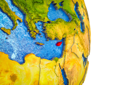 Cyprus on 3D model of Earth with divided countries and blue oceans. 3D illustration. Фото со стока