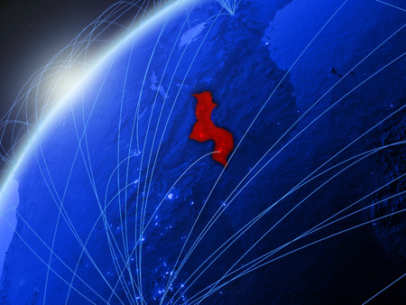 Malawi on model of green planet Earth with international networks. Concept of blue digital communication and technology. 3D illustration. Stock Photo