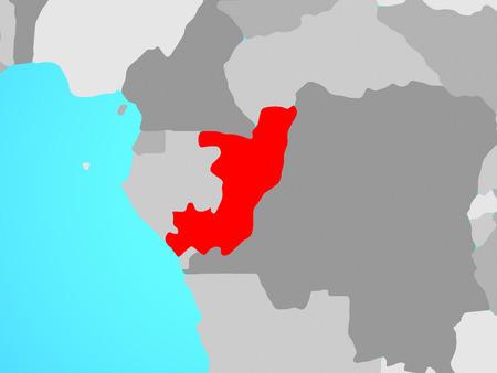Congo on blue political globe. 3D illustration. Standard-Bild - 111866171