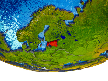 Estonia on 3D Earth with divided countries and watery oceans. 3D illustration. 写真素材