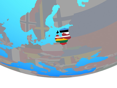 Baltic States with national flags on simple political globe. 3D illustration. Stock Photo