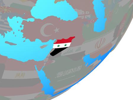 Syria with embedded national flag on blue political globe. 3D illustration.
