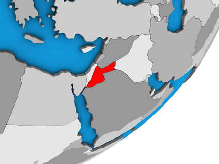 Jordan on blue political 3D globe. 3D illustration. Stock Photo