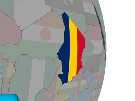 Chad with embedded national flag on simple political 3D globe. 3D illustration.
