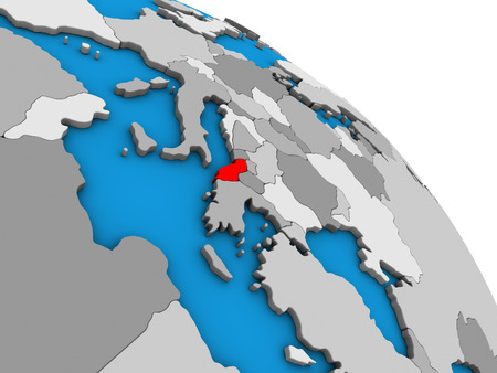 Albania on simple blue political 3D globe. 3D illustration.