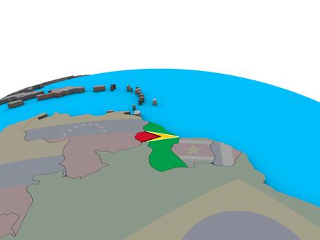 Guyana with embedded national flag on political 3D globe. 3D illustration.