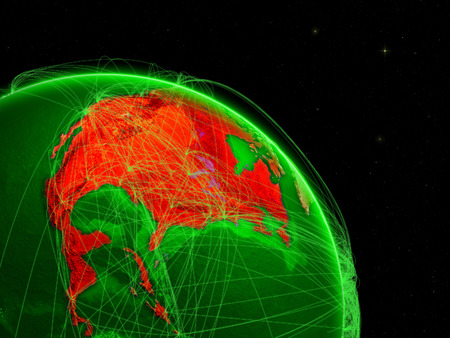 North America on green Earth in space with networks. Concept of intercontinental air traffic or telecommunications network. 3D illustration. Stock Photo