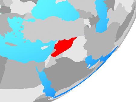 Syria on blue political globe. 3D illustration. Stock Photo