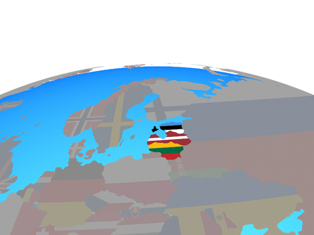 Baltic States with national flags on political globe. 3D illustration.