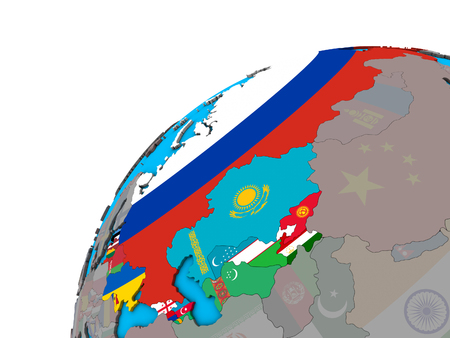 Former Soviet Union with national flags on 3D globe. 3D illustration. Stock Photo