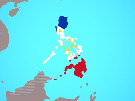 Philippines with national flag on blue political globe. 3D illustration. Stock Illustration - 111865786