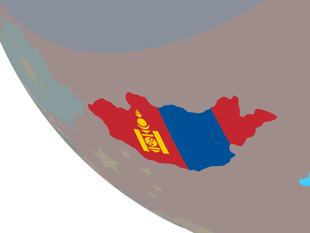 Mongolia with national flag on simple globe. 3D illustration.