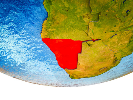 Namibia on 3D Earth with divided countries and watery oceans. 3D illustration.