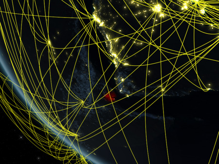 Djibouti on planet Earth from space at night with network. Concept of international communication, technology and travel. 3D illustration.