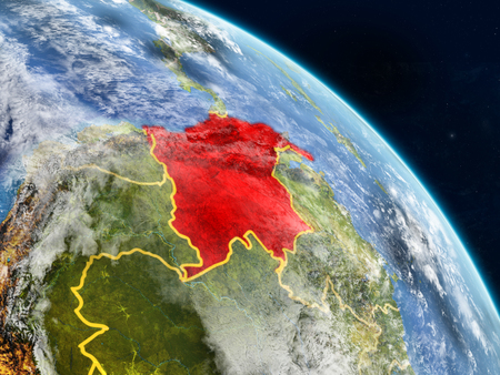 Colombia from space on realistic model of planet Earth with country borders and detailed planet surface and clouds. 3D illustration.