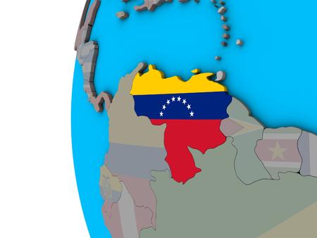 Venezuela with national flag on blue political 3D globe. 3D illustration. Foto de archivo - 111863395