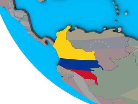 Colombia with embedded national flag on simple 3D globe. 3D illustration. Foto de archivo - 111863399