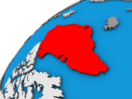 Greenland on 3D globe. 3D illustration.