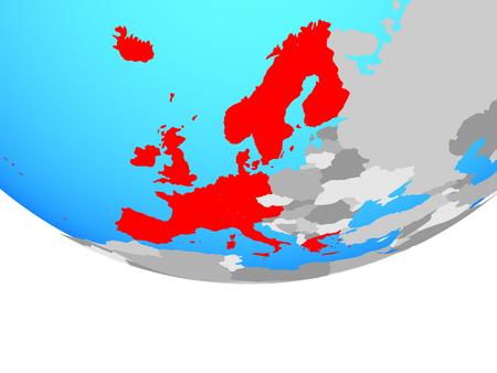 Western Europe on simple political globe. 3D illustration.