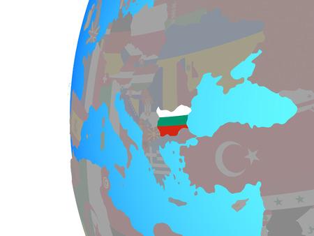 Bulgaria with embedded national flag on blue political globe. 3D illustration.