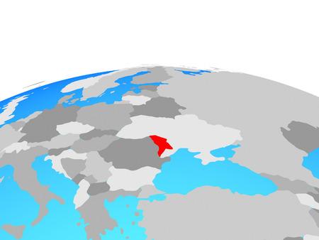 Moldova on political globe. 3D illustration.