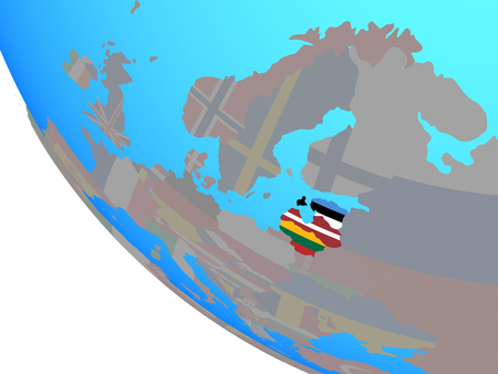 Baltic States with national flags on simple globe. 3D illustration. 版權商用圖片