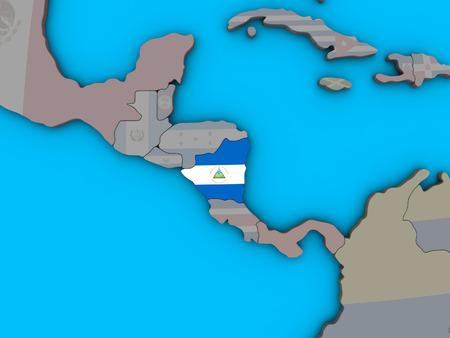 Nicaragua with embedded national flag on blue political 3D globe. 3D illustration.