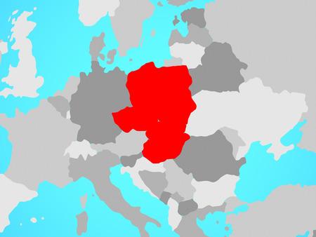 Visegrad Group on blue political globe. 3D illustration.